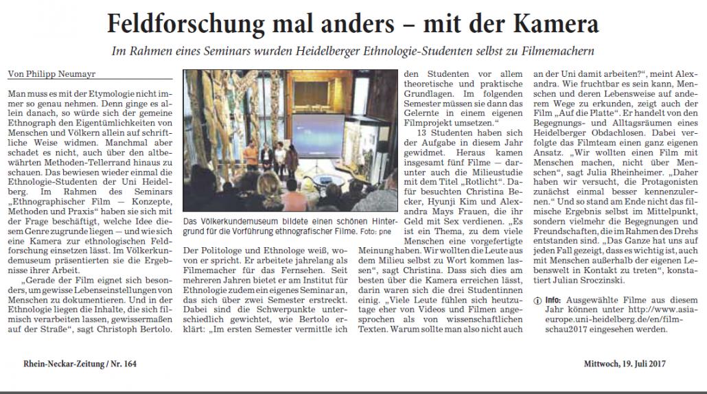 Presseecho zur Vierten Ethnografischen Filmschau in der Rhein-Neckar ...
